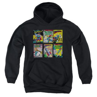Youth's Black Cotton/Polyester Superman/Sm Covers Pull-over Hoodie