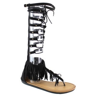 Beston Eb42 Knee High Fringe Gladiator Sandals
