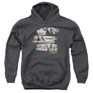 The Hobbit/Loyalty and Honour Youth Pullover Hoodie in Charcoal
