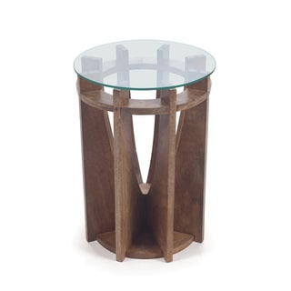 Hip Vintage Kindle Wood Glass-top Occasional Table