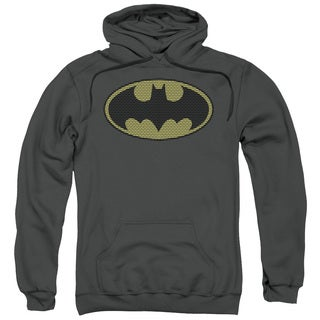Adult's Charcoal Grey Cotton/Polyester Batman/Little Logos Pull-over Hoodie