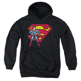 Superman/Superman & Logo Youth Pull-Over Hoodie in Black