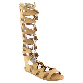 Beston Eb68 Knee High Flat Gladiator Sandals