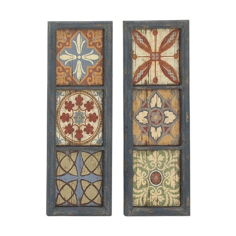 Studio 350 Wood Wall Panel Set of 2, 13 inches wide, 39 inches high - Multi-color