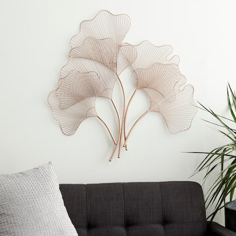 Natural 34 x 35 Inch Iron Wire Fan Leaves Wall Decor by Studio 350