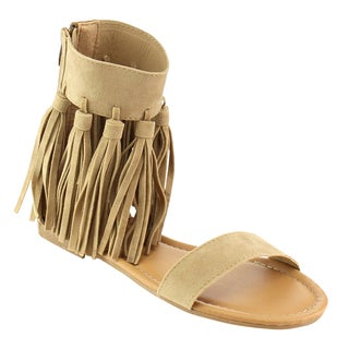 Beston Gb84 Fringe Flat Gladiator Sandal