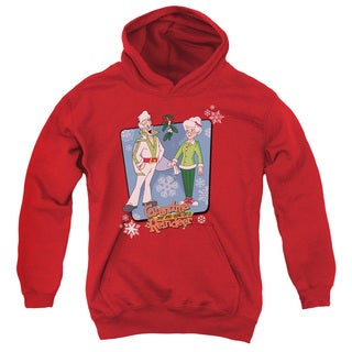 Youth Grandma Got Run Over By a Reindeer/Super Stars Red Pullover Hoodie