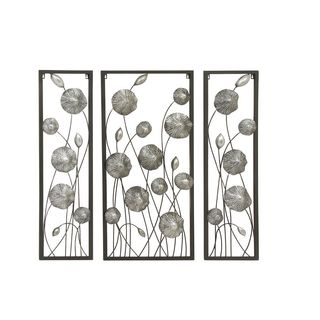 Lovely Metal Silver Wall Decor (Set Of 3)