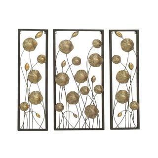 Adorable Metal Gold Wall Decor (Set Of 3)