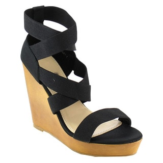 Beston Women's Criss Cross Wedge Sandals