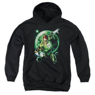 Green Lantern/Galaxy Glow Youth Pullover Hoodie in Black