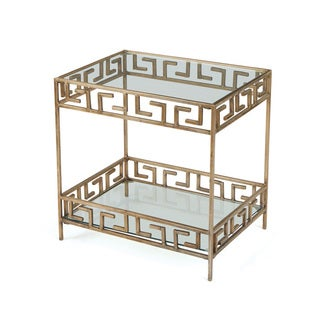 Contemporary Gold Iron/Glass Accent Table
