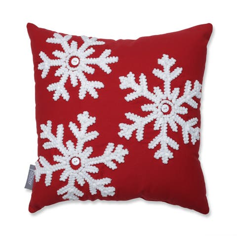 Pillow Perfect Country Home Snowflakes Red/White 15.5-inch Throw Pillow