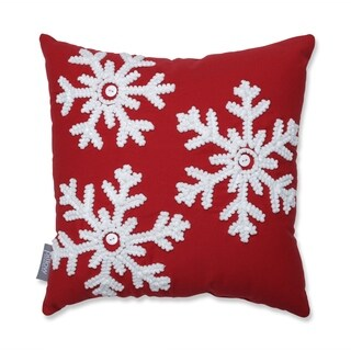 Pillow Perfect Country Home Snowflakes Red/Biscuit 15.5-inch Throw Pillow