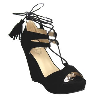 ITALINA DW6168 Women's Tassel Fringe Lace-up Platform Wedges One Size Smaller