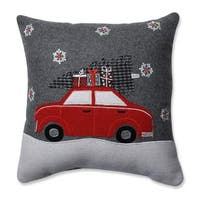 Pillow Perfect Gift Car Grey-Red 16-inch Throw Pillow