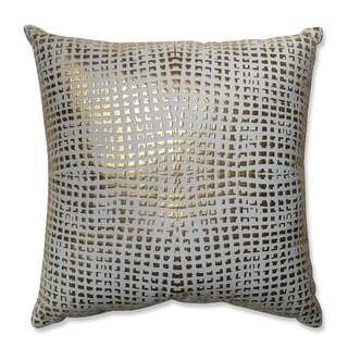 Pillow Perfect Glamour Square Gold-White 17.5-inch Throw Pillow