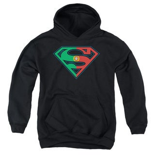 Superman/Portugal Shield Youth Pullover Hoodie in Black