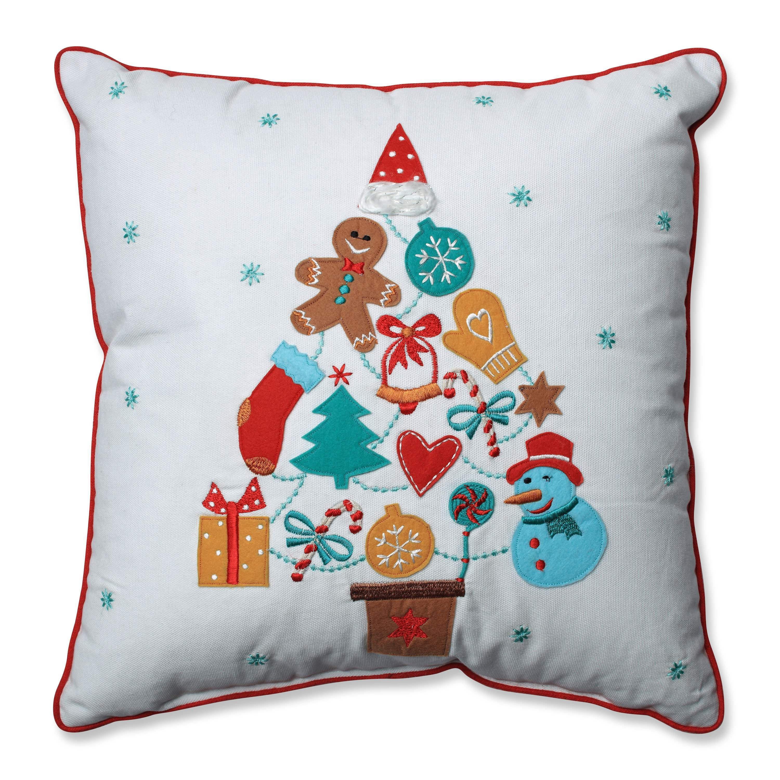 Pillow Perfect Gift Tree Red-Aqua 16-inch Throw Pillow (1...