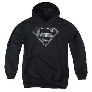 Youth's Black Cotton/Polyester Superman/Mech Shield Pull-over Hoodie