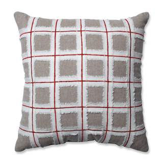 Pillow Perfect Country Home Grid Red/Biscuit 15.5-inch Throw Pillow