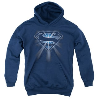 Superman/Glowing Shield Youth Pull-Over Hoodie in Navy