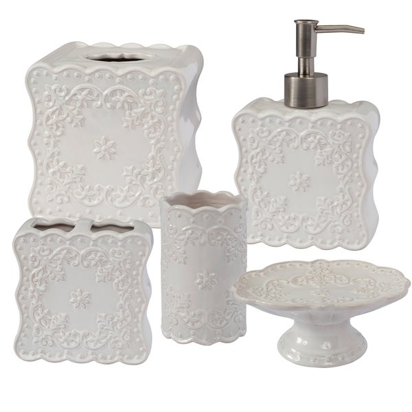'Flowers and Frills' 5-piece Handcrafted Ceramic Bath Accessory Set or Separates