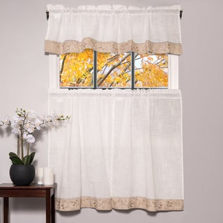 Oakwood Linen Style Decorative Curtain Tier Set