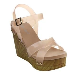 Beston Eb50 Women's Platform Studded Criss Cross Buckle Strap Jelly Wedge Sandals