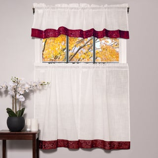 Oakwood Linen Style Decorative Window Curtain Tier Set