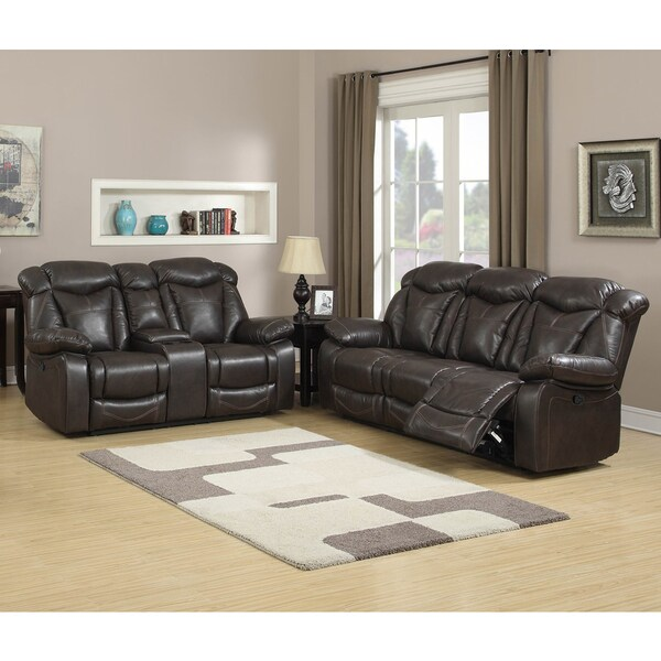 Shop Walter Dark Brown Leather Reclining Sofa And Loveseat Set Of 2
