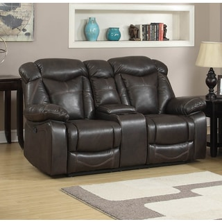 Walter Dark Brown Air Leather Gliding Reclining Loveseat