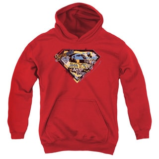 Youth's Red Cotton/Polyester Superman/American Way Pull-over Hoodie