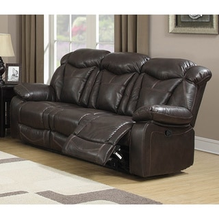 Walter Dark Brown Air Leather Living Room Reclining Sofa