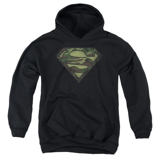 Youth Black Cotton and Polyester Superman Pull-over Hoodie
