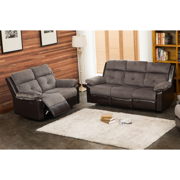 Shop Stanford Grey Chocolate Reclining Sofa And Loveseat
