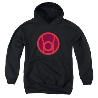 Youth's Black Cotton/Polyester Green Lantern/Red Symbol Pull-over Hoodie
