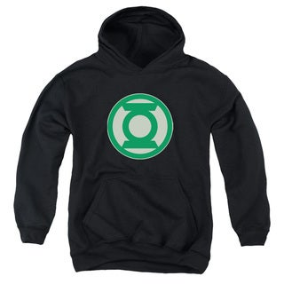Green Lantern/Green Symbol Youth Pull-Over Hoodie in Black