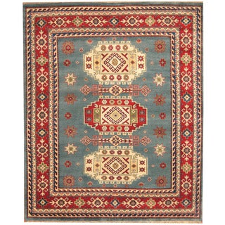 Herat Oriental Indo Hand-knotted Kazak Light Blue/ Red Wool Rug (8' x 10')