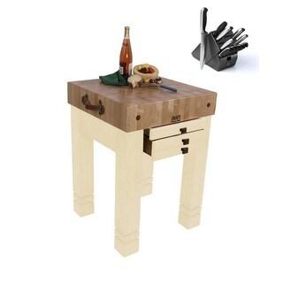 John Boos CU-SB2424-N Steamer Natural 24-inch x 24-inch Table With Bonus 13-piece Henckels Knife Set