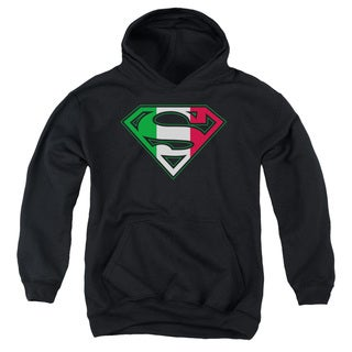 Superman/Italian Shield Youth Pull-Over Hoodie in Black