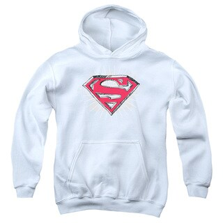 Superman Youth Hastily Drawn Shield White Cotton/Polyester Pullover Hoodie