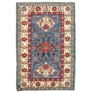 Herat Oriental Afghan Hand-knotted Kazak Blue/ Ivory Wool Rug (2'8 x 3'11)