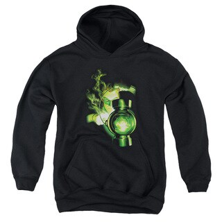 Green Lantern/Lantern Light Youth Pull-Over Hoodie in Black