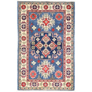 Herat Oriental Afghan Hand-knotted Kazak Blue/ Ivory Wool Rug (2'8 x 4'1)