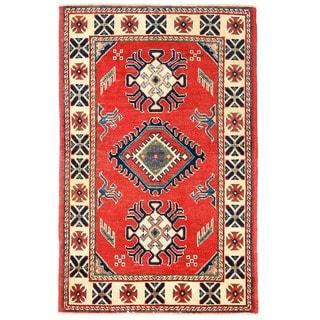 Herat Oriental Afghan Hand-knotted Kazak Wool Rug (2'8 x 4'2)