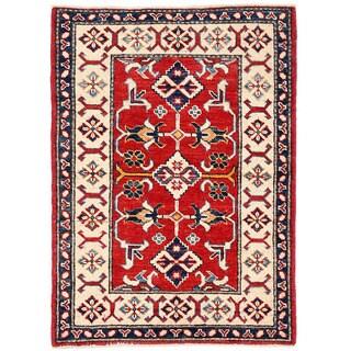 Herat Oriental Afghan Hand-knotted Kazak Red/ Ivory Wool Rug (2'9 x 3'9)