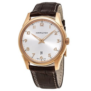 Hamilton Men's H38541513 'Jazzmaster' Silver Dial Brown Leather Strap Thin line Swiss Quartz Watch