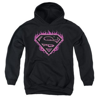Superman/Fuchsia Flames Youth Black Pullover Hoodie