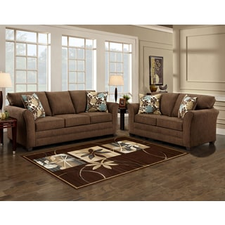 Sofa Trendz Brooklyn Brown Microfiber Sofa and Love Seat
